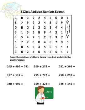 3 Digit Addition Number Search
