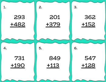 3-Digit Addition w/ Regrouping Practice Cards - Color and Black/White