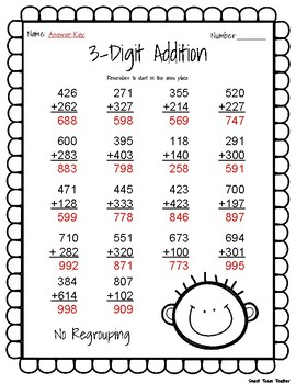 3 Digit Addition Without Regrouping Practice Page