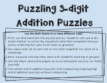 3 Digit Addition Puzzle Math Center