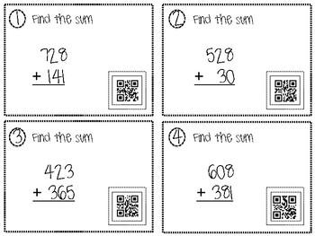 3 Digit Addition QR Task Cards