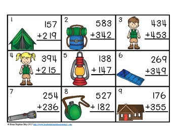 3 Digit Addition Regrouping Camping Task Cards