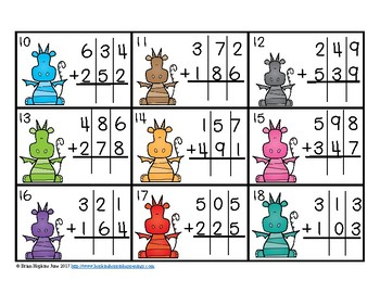 3 Digit Addition Regrouping Dragon Task Cards
