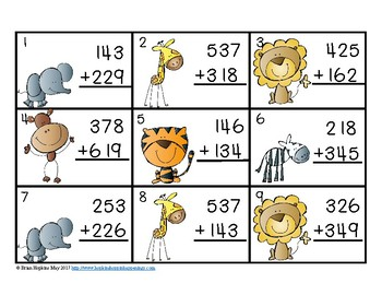 3 Digit Addition Regrouping Zoo Task Cards