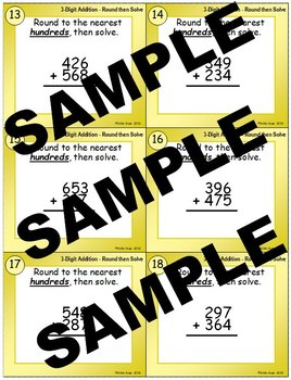3-Digit Addition Round-then-Solve Task Cards