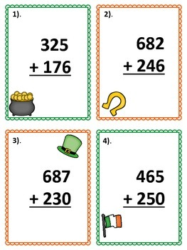 St. Patrick's Day SCOOT - 3-digit Addition FREEBIE