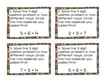 3 Digit Addition (Single Digit) Task Cards