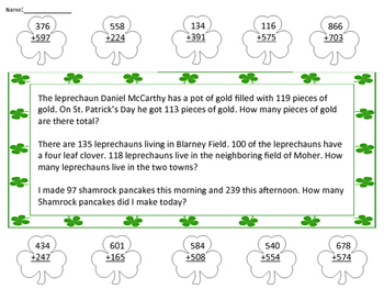 3 Digit Addition St. Patrick's Day Theme