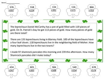 3 Digit Addition St. Patrick's Day Theme