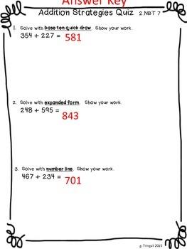 3 Digit Addition Strategies Quiz