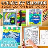 3-Digit Addition & 3-Digit Subtraction Color By Number Bundle | Spring