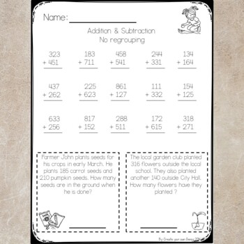 3 Digit Addition & Subtraction Quiz with worksheets- No regrouping