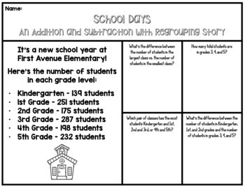 3 Digit Addition & Subtraction + Regrouping Stories-10 Math Enrichment Resources