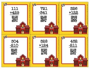 Back to School 3 Digit Addition & Subtraction Review Task Cards QR codes