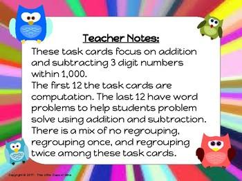 3 Digit Addition & Subtraction Task Cards