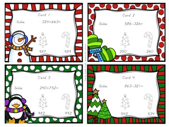 3 Digit Addition & Subtraction Without Regrouping Seat Scoot  Holiday Edition!