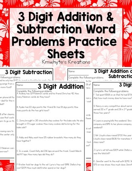 3 digit addition subtraction word problems worksheets by kmwhyte s