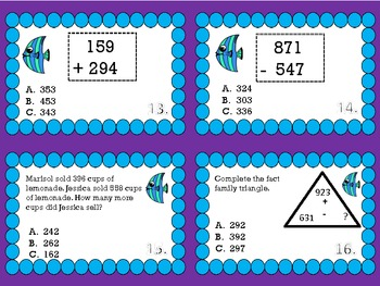 3 Digit Addition & Subtraction with Regrouping Task Cards