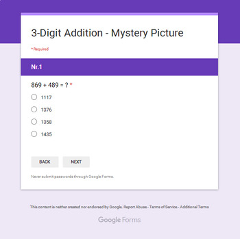 3-Digit Addition - Superhero Mystery Picture - Google Forms