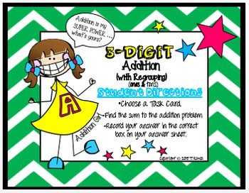 3-Digit Addition Task Card Activity Set (With Regrouping- Ones and Tens)