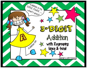 3-Digit Addition Task Card Activity Set (With Regrouping-