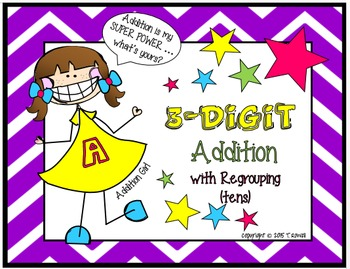 3-Digit Addition Task Card Activity Set (With Regrouping-Tens)