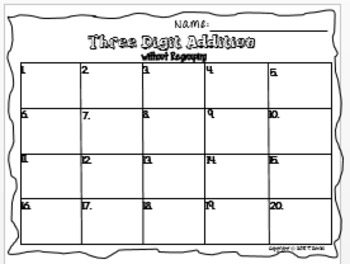 3-Digit Addition Task Card Activity Set (without Regrouping)