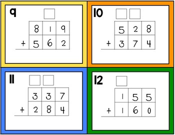 3 Digit Addition Task Cards