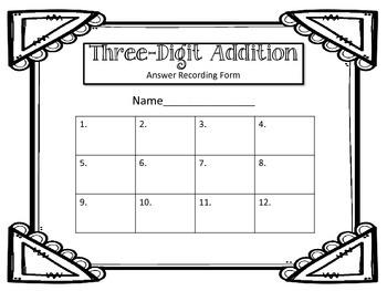 3-Digit Addition Task Cards. Addends. Math Center.