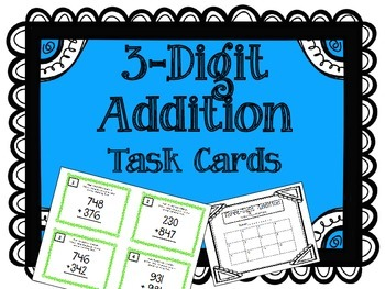 3-Digit Addition Task Cards. Addends. Math Center.