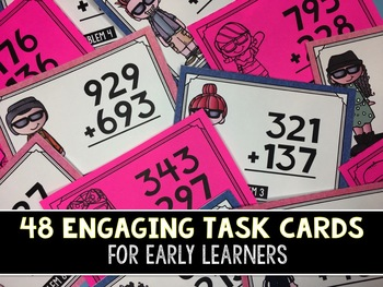 3-Digit Addition Task Cards (With AND Without Regrouping)