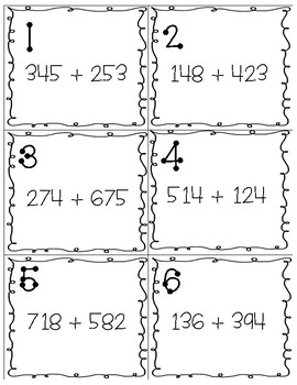 3 Digit Addition Taskcards or Scoot!