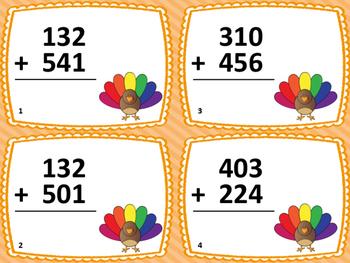 3-Digit Addition Thanksgiving Task Cards (28 Cards) - Grades 1-2