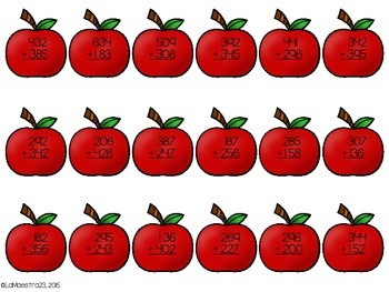 3 Digit Addition Apple Trees