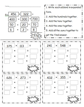 3 digit addition using expanded notation by chelsea bosen tpt. Black Bedroom Furniture Sets. Home Design Ideas