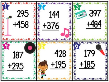 3-Digit Addition WITH regrouping 30 TASK CARDS (with answer key)