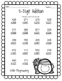 3 Digit Addition With Regrouping Practice Page