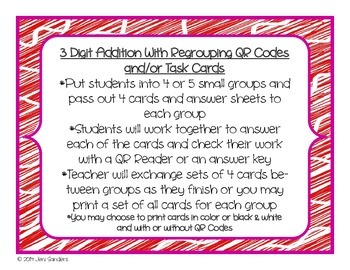 3 Digit Addition With Regrouping Task Cards and/or QR Code Cards and Worksheet