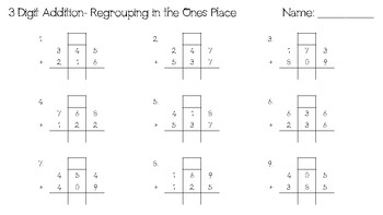 3 digit addition with regrouping in the ones place worksheet by jordan journeys. Black Bedroom Furniture Sets. Home Design Ideas