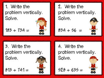3 Digit Addition With & Without Regrouping Task Cards