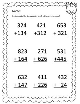 3-Digit Addition With and Without Regrouping HMWK Bundle CC.2.1.3.B.1