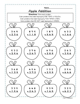 3-Digit Addition Fall Apples Worksheet - Coloring Page - NO PREP