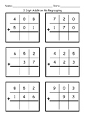 3 Digit Addition Worksheets- with NO Regrouping