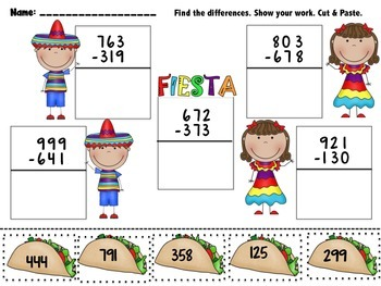 3 Digit Addition and 3 Digit Subtraction Cut and Paste Pack