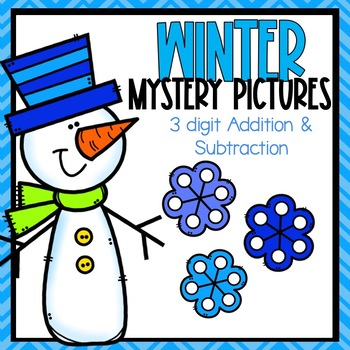 3 Digit Addition and Subtraction Color -By-Code Winter Themed