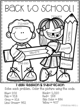 3 digit addition and subtraction color by number back to school themed