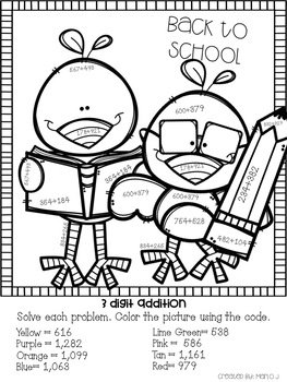 3 Digit Addition and Subtraction Color-By-Number Back To School Themed