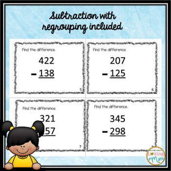 3 Digit Addition  Subtraction and Place Value Connect Four Game