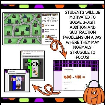 3 Digit Addition and Subtraction/Fun Halloween Math Activity / Halloween Game