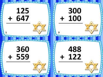 3-Digit Addition and Subtraction Hanukkah Task Card Bundle: 48 Cards: Grades 2-3